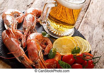 re, primo piano, limone, luce, ardesia, birra, gamberetti, delizioso, board., orizzontale, pomodori