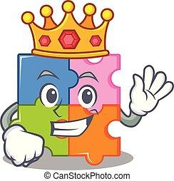 re, puzzle, mascotte, stile, cartone animato