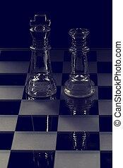 re, regina, prospiciente, vetro, altro, nero, scacchi, ciascuno, bianco, pezzo