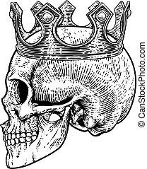 re, scheletro, cranio, corona reale, umano