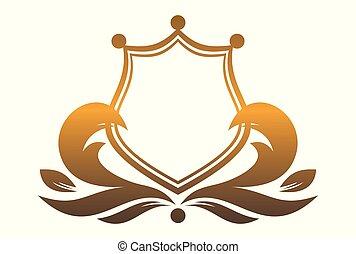 re, scudo, oro, logotipo