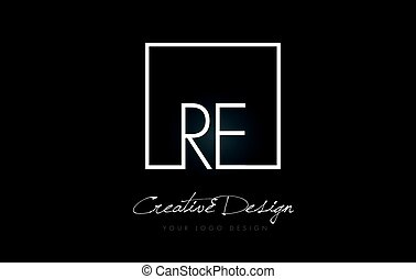 RE Square Frame Letter Logo Design with Black and White Colors.