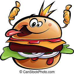 re, su, hamburger, pollici, fabbricazione, cartone animato, gesto
