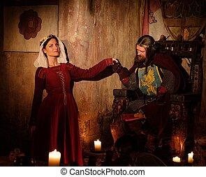 re, suo, medievale, regina, antico, interior., castello
