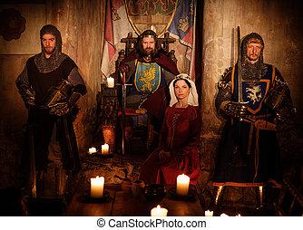 re, suo, medievale, regina, guardia, antico, interno, cavalieri, castello