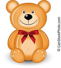 re, vettore, illustrazione, orso