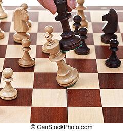 re, vince, gioco, nero, scacchi, bianco
