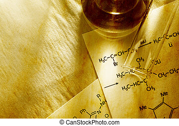 reação, química, toning, fórmula