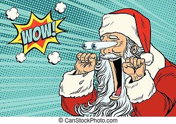 reação, wow, claus, personagem, santa, emocional, natal