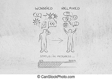 reacción, cambiar, hombre, relaxed:, preocupado