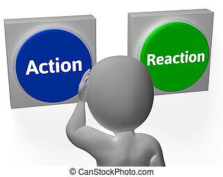 reacción de acción, botones, exposición, control, o, efecto