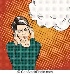 reacción, mujer, arte, bubble., oh, taponazo, discurso,...