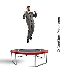 Reach best result - Man jumps on a trampoline increasingly...