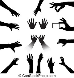 People Hands Silhouettes Set - Reach out and grab this...
