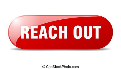 reach out button. sticker. banner. rounded glass sign