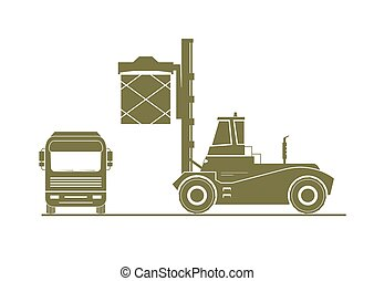 Reach stacker load a container on a truck. Vector...