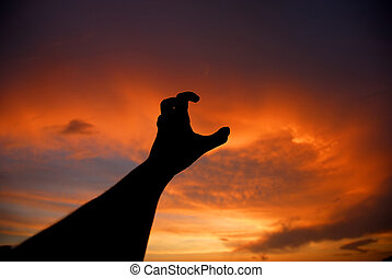 reach - human hand trying to reach the sky at sunset
