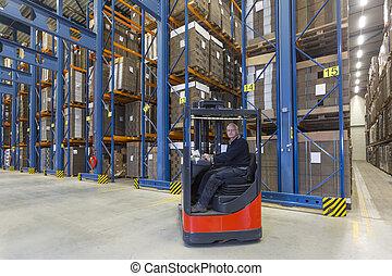 Reach Truck driver - Man driving his reachtruck into a row...