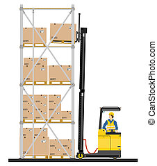 Reach truck - Illustration of forklift operating in the ...