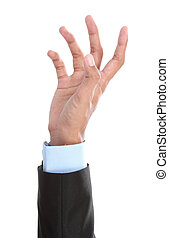 Reaching - businessman hand reaching for something isolated...