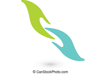 Reaching hands business icon vector concept