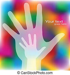 Reaching hands design. - Reaching hands design with copy...