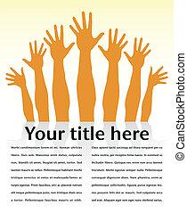 Reaching hands design. - Reaching hands design with shadow...