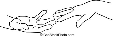 reaching hands - simple line drawing of two hands reaching ...