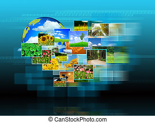 Reaching images streaming  .Environmental concept