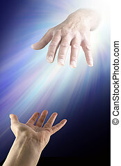 Reaching out for Divine Help - A female hand with palm open...