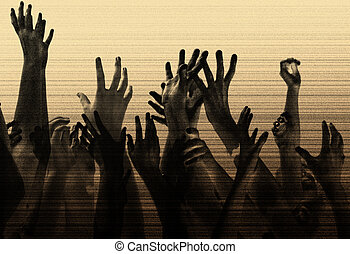 hands in the air, reaching out. metaphor/ concept for help, desperation, competition, party, concert, etc. Grain & texture added for effect.