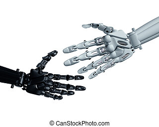 Reaching out - Humanoid robots reaching out to shake hands