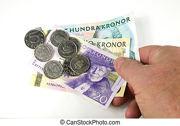 Reaching over swedish money