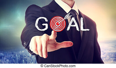 Reaching the Goal! - Business man pointing to the target,...
