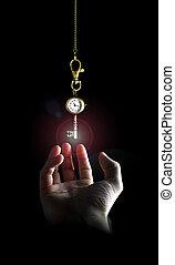 Reaching the key of time - Raising hand bellow a clock key