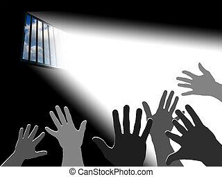 Reaching the sky.. Light through the latticed prison window
