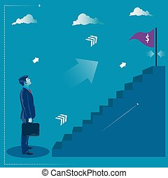 Reaching the target. Businessman standing in front of stairs to his goal. Business concept vector illustration
