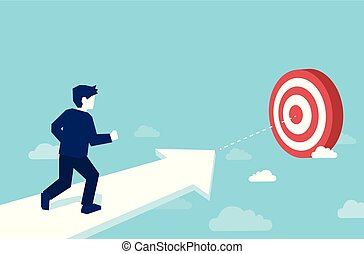Vector of a businessman running to the target.