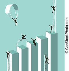 Reaching business success concept illustration. Vector layered for easy manipulation and custom coloring.