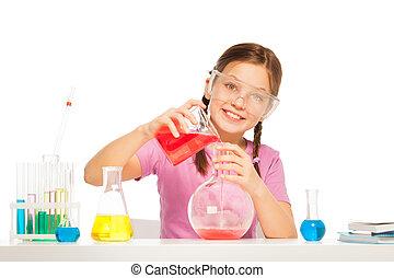 reactant, öntés, volumetric, folyékony, pohár, piros
