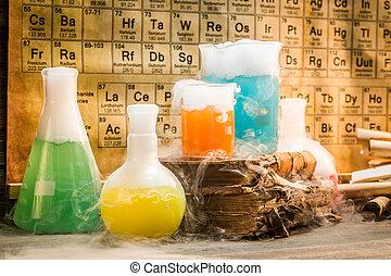 reactie, school, oud, dynamisch, chemisch, laboratorium