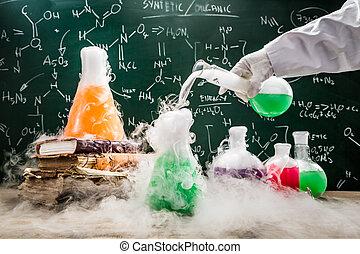 reacties, school, testen, chemisch, groene, laboratorium