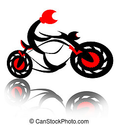 Reactive Motorcycle - Biker on motorcycle boost speed and...