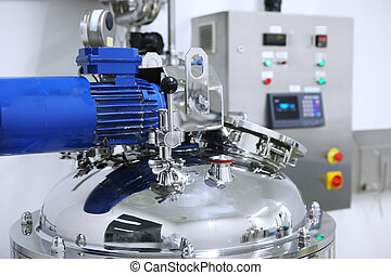 Reactors of suspensions and solutions. Manufacture of pharmaceutical industry. Production of suspensions, solutions for tablets. Reactor for manufacturing liquid, Clean room, Pharmaceutical plant, Drug manufacturing plant, Research Center, Pharmacy, Area