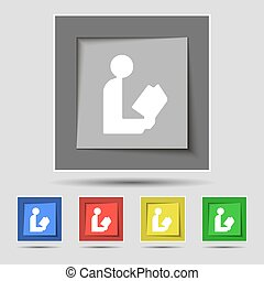 read a book icon sign on original five colored buttons. Vector