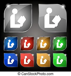 read a book icon sign. Set of ten colorful buttons with glare. Vector