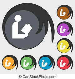 read a book icon sign. Symbol on eight colored buttons. Vector