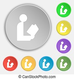 read a book icon sign. Symbol on five flat buttons. Vector