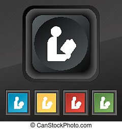 read a book icon symbol. Set of five colorful, stylish buttons on black texture for your design. Vector