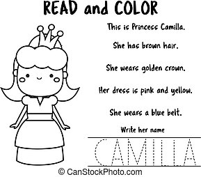 Read and color page for kids. Educational game for children. Reading Comprehension Worksheet for pre school age.